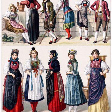 Schweizer Volkstrachten aus der ersten Hälfte des 19. Jahrhunderts.
