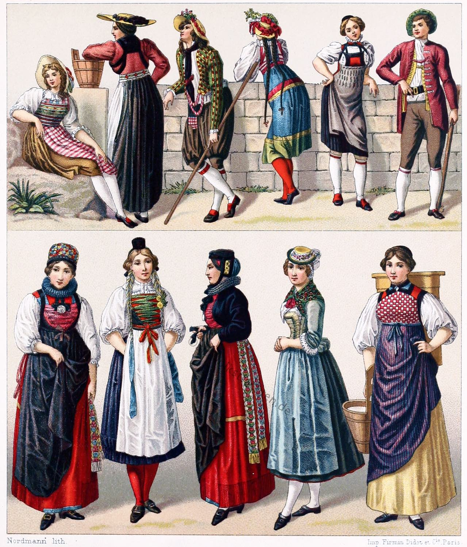 Trachtenmode, Schweizer Volkstrachten, Luzern, Freiburg, Zug, Bern, Schwyz, Schaffhausen, Wallis