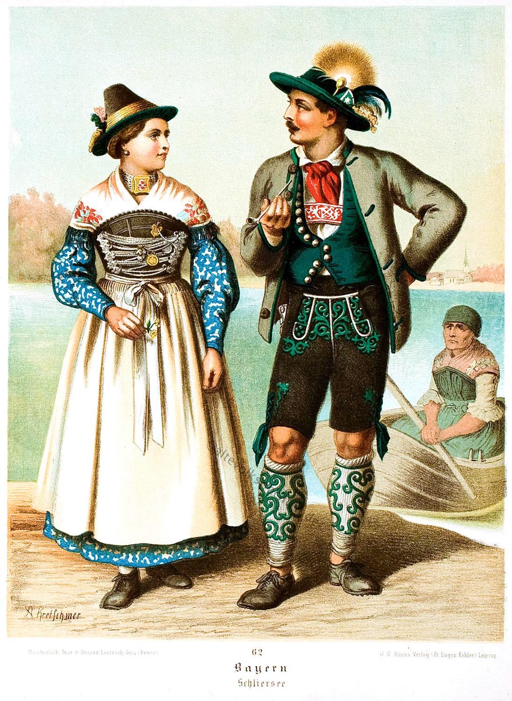 Trachtenmode, Oberbayern, Lederhose, Dirndl, Oberbayerische Volkstrachten, Schliersee, Albert Kretschmer