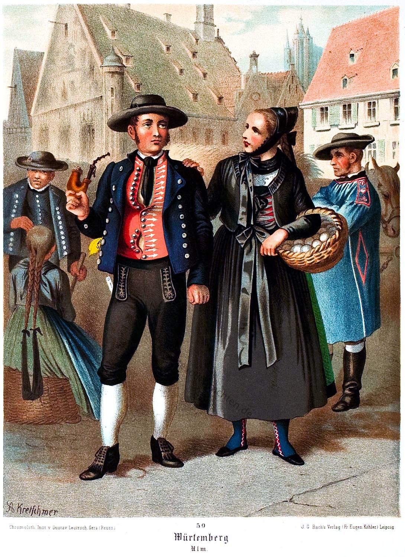 Trachtenmode, Schwaben, Donaukreis, Ulm, Königreich, Württemberg,