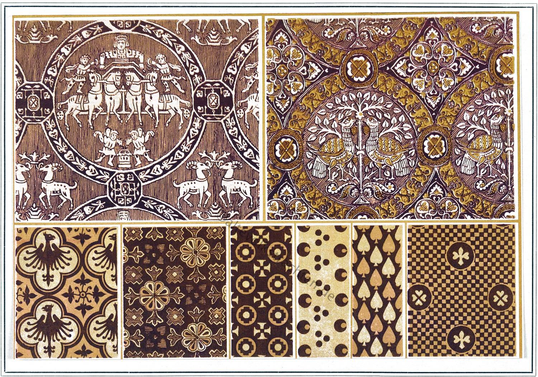 Textildesign, Mittelalter, Gotik, Stoffmuster, Lebensbaum,