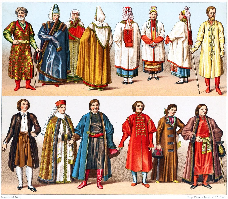 Russische  Volkstrachten, Racinet, Kleidung, Bojaren, Koaken, Rußland,