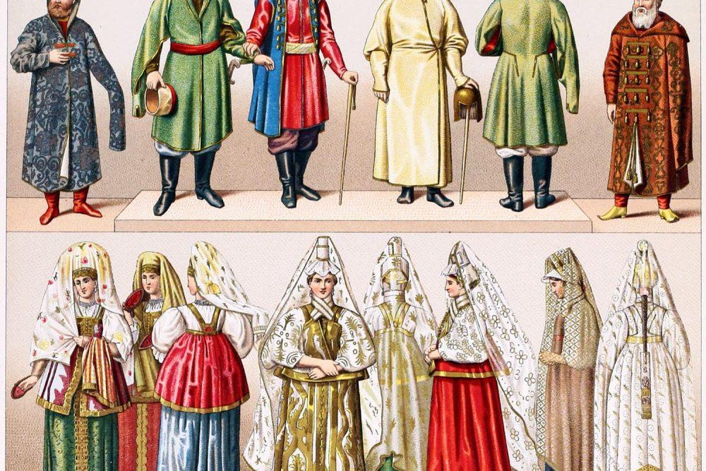 Kleidung, Bojaren, Koaken, Russen, Rußland, Trachten, Volkstrachten
