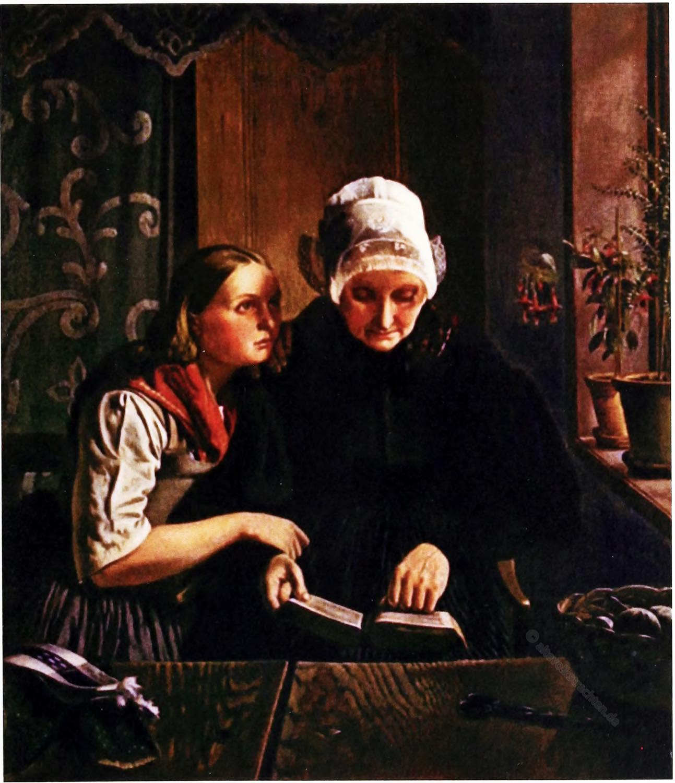 Carl Ludwig Jessen, Gemälde, Mutter, Tochter,