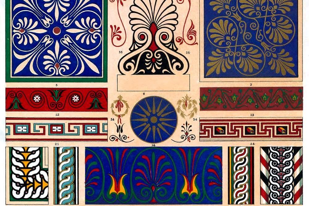 Ornament, Muster, Auguste Racinet, Griechenland, griechisch-römische, Altertümer, polychromatische, Dekoration,