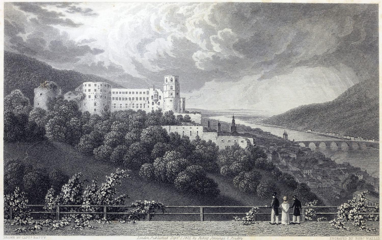 Schloss, Heidelberg, Deutsche Romantik, Robert Batty, Kupferstich