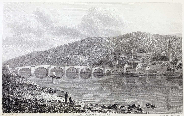 Ansicht, Heidelberg, Deutsche Romantik, Robert Batty, Kupferstich
