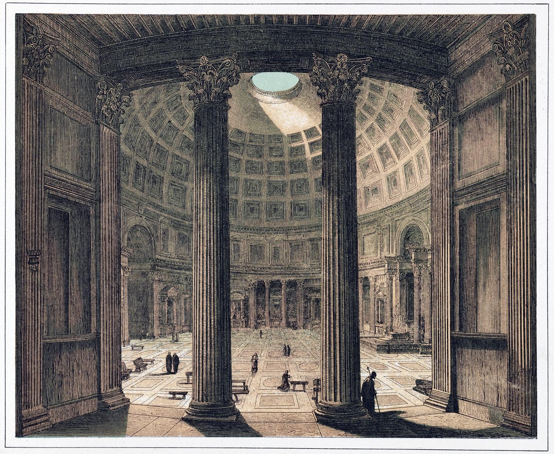 Pantheon, Rom, Innnansicht, Säulen, Architektur, Antike, Bauwerk,