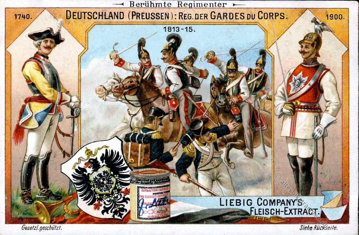 Deutschland Preussen, Gardes, Corps, Liebig, Sammelbilder, Regimenter, Uniformen,
