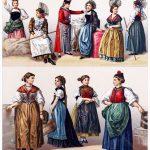 Schweiz. Weibliche Trachten aus Bern, Appenzell, Freiburg, Uri u. a.