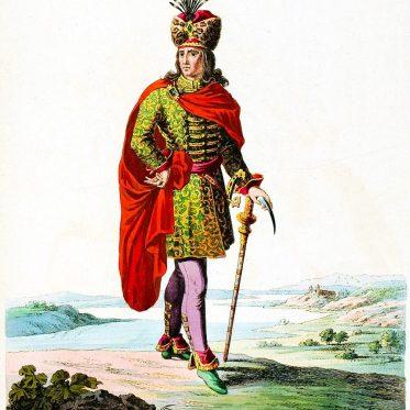 Stephan III. König von Ungarn mit Csákány.