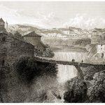 Blick auf Tivoli vom Tempel der Vesta aus. Italien 19. Jh.