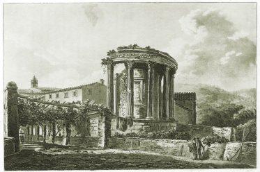 Tempel, Sibylle, Tivoli, römisch, Architektur, Illustration, James Mérigot,