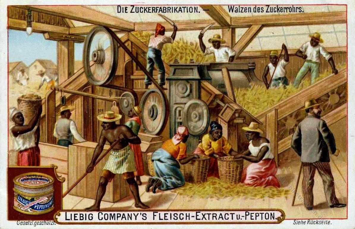 Liebig, Bilderserie, Zuckerproduktion, Kolonialismus, Zuckerrohr, Sklaven,