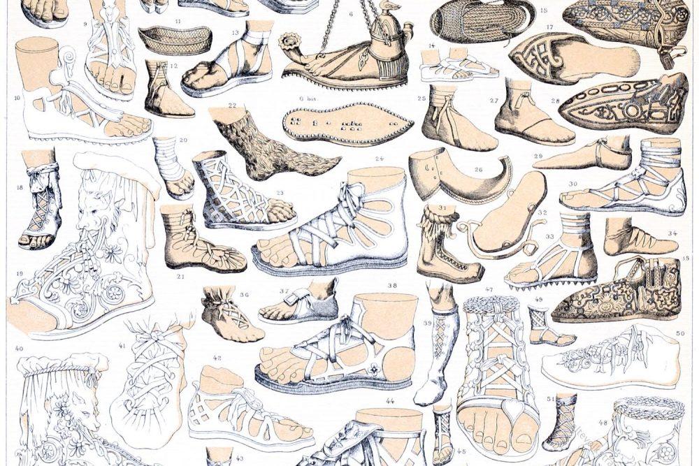 Auguste Racinet, Antike, Schuhe, Schnürschuhe, Sandalen, Soldatenschuh, Rom, Griechenland,