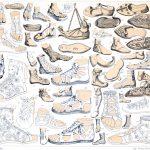 Fussbekleidungen der Antike. Schnürschuhe, Sandalen, Soldatenschuhe.