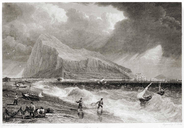 Gibraltar, Bucht, Ansicht, Reisebeschreibung, Segelschiffe