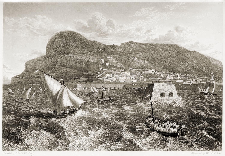 Gibraltar, Mole, Hafeneinfahrt, Hafen, Ansicht, Illustration, Segelschiffe,