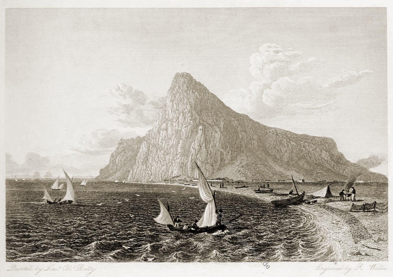 Gibraltar, Ansicht, Stahlstich, Segelschiffe,