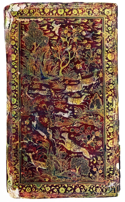 Bucheinband, Handschrift, Lackmalerei, Antik, Persien, Literatur, Safawiden, Jami,
