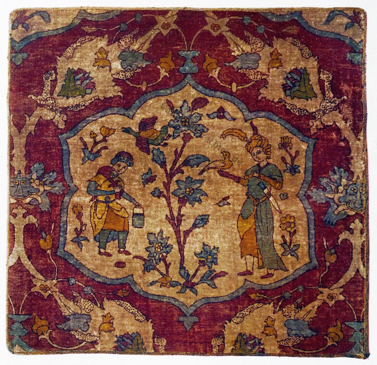 Jagdteppich, Schah-Abbas, Orient-Teppich, Seidenfragment, Kafaroffs, Perser, Teppich, Antik, Safawiden,