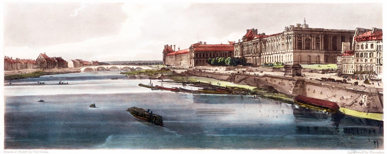 Thomas Girtin, Thuilleries, Louvre, Paris, Pont Neuf, Stadtansicht,