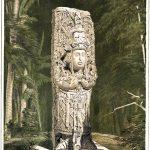 Idol in Copán, Honduras. Ansichten alter Monumente in Mittelamerika.