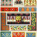Polychrome Ornamentik in der griechischen Architektur, Skulptur, Keramik.