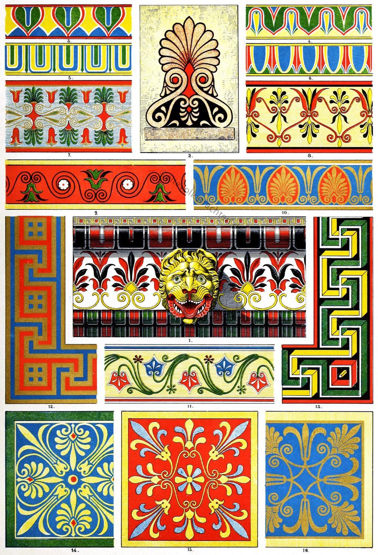 Polychrome, Ornamente, Antike, Griechenland, Architektur, Ornamentik, Hellenismus