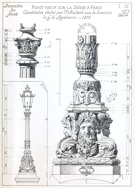 Candélabré, Pont Neuf, Decoration, Seine, Paris,