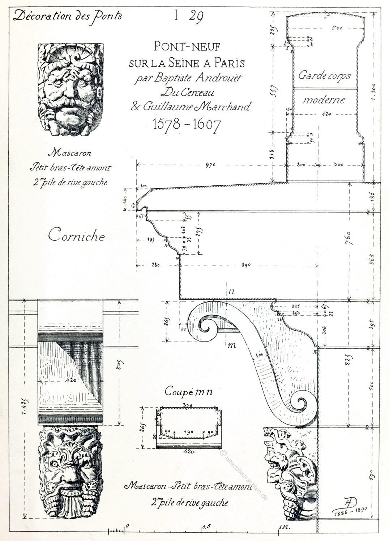 Mascaron, Decoration, Pont Neuf, Paris,