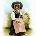 Historische Tracht einer Schweizerin des Kanton Thurgau.